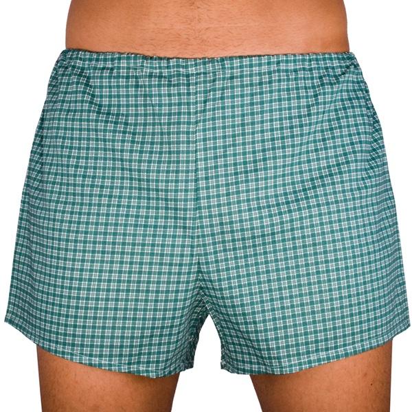 Klasické pánské trenky Foltýn zelené s kostičkou extra nadrozměr